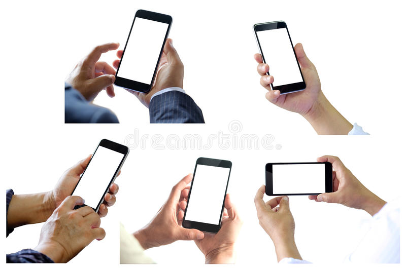 People holding smart phone 5 various photos collection. stock photo