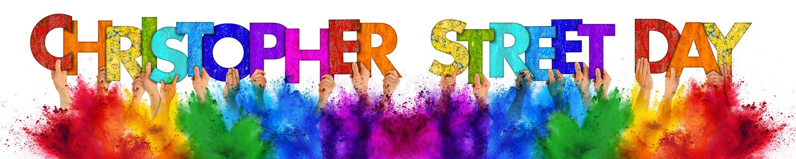 People holding up wooden Christopher street day colorful rainbow lettering holi powder color splash isolated white background stock images