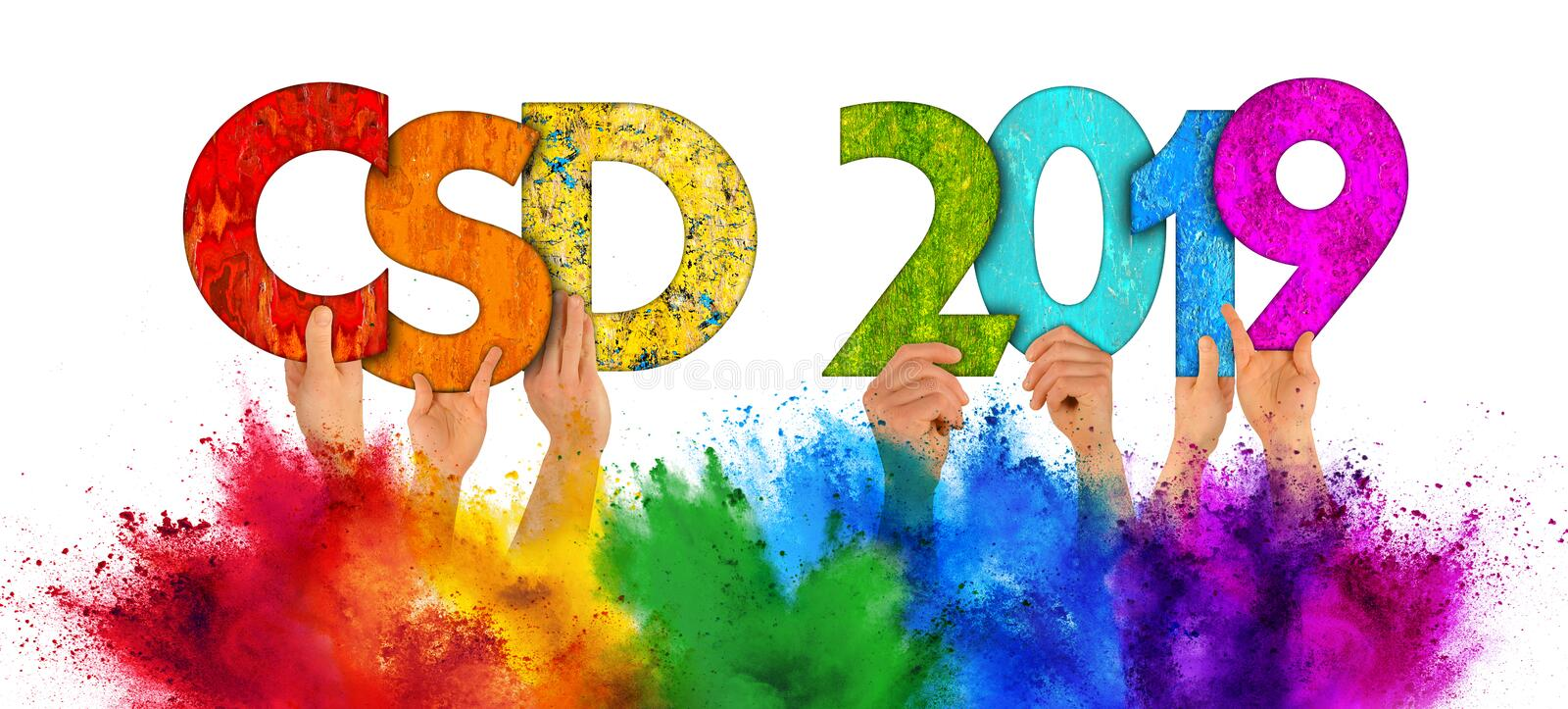 People holding up wooden Christopher street day csd 2019 colorful rainbow lettering holi powder color splash  white. People arms hands holding up colorful wooden stock photography