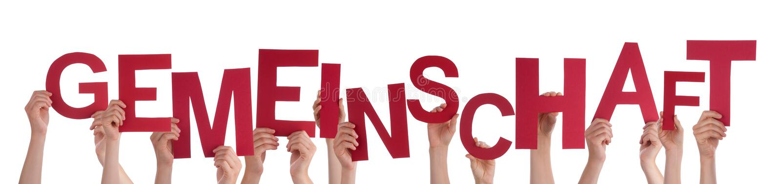 People Holding Word Gemeinschaft Means Community. Many Caucasian People And Hands Holding Red Letters Or Characters Building The Isolated German Word stock image