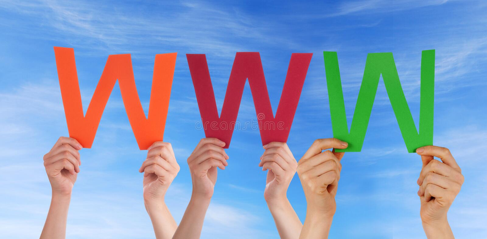 Download People Holding WWW In The Sky Stock Photo - Image: 33489624