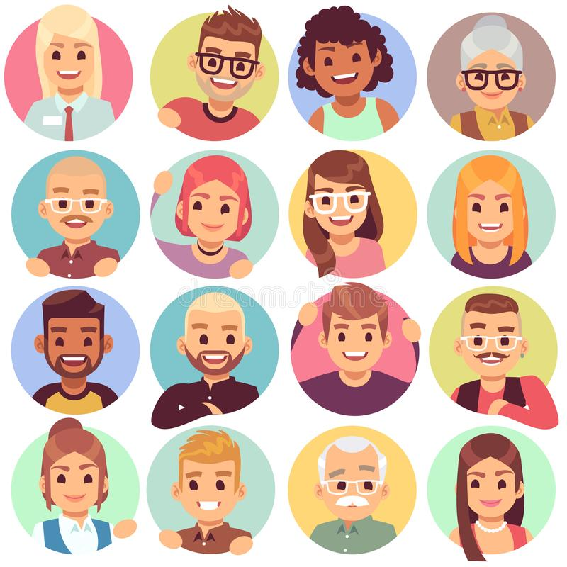 People in holes. Face in circular windows, emotional people greeting, smiling communicating characters. Avatars vector stock illustration
