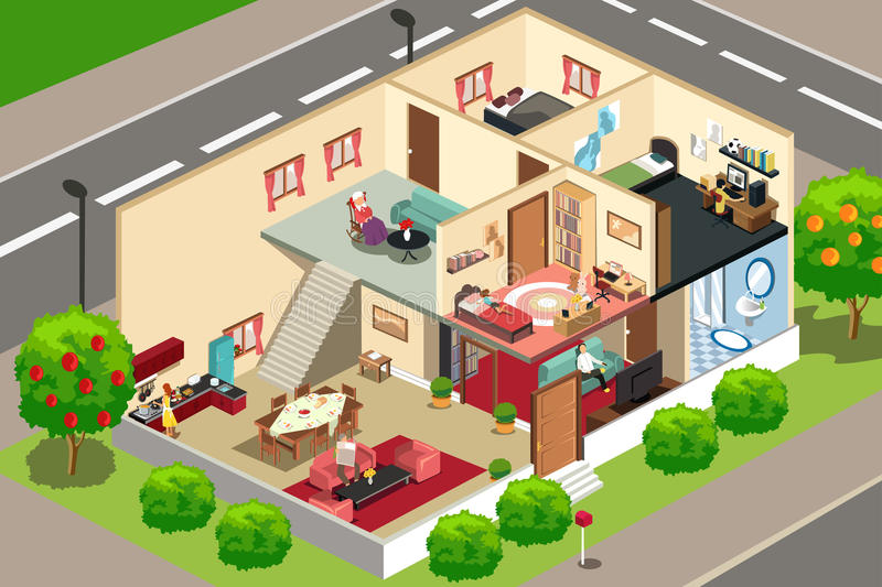 People at home. A vector illustration of people doing activities in their home vector illustration
