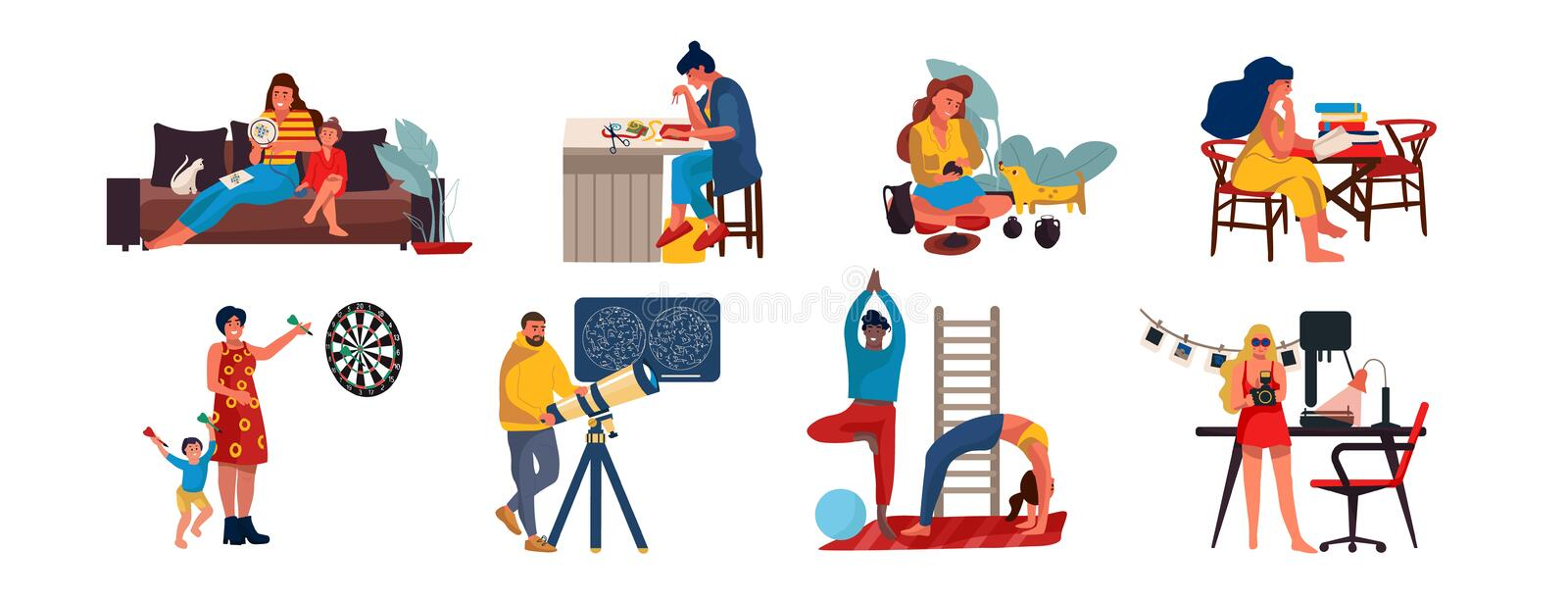 People at home. Cartoon characters relaxing and doing home activities, listening music, cooking reading and playing. Vector illustrations weekend relax with stock illustration
