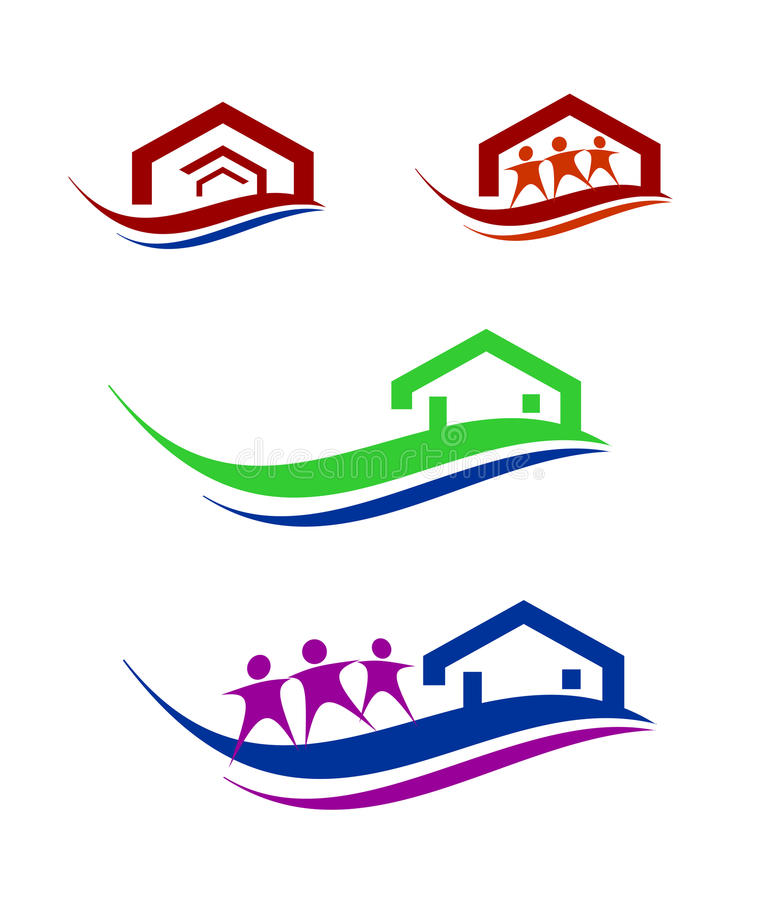 Download People and home logo set stock vector. Image of roof - 37489923