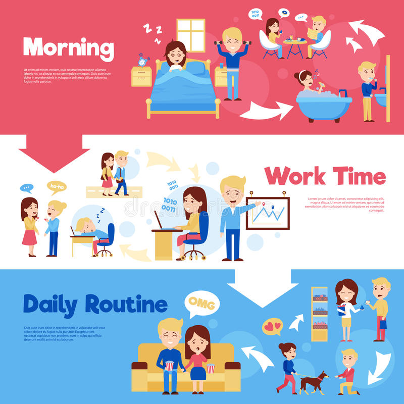 Daily People Horizontal Banners Set royalty free illustration