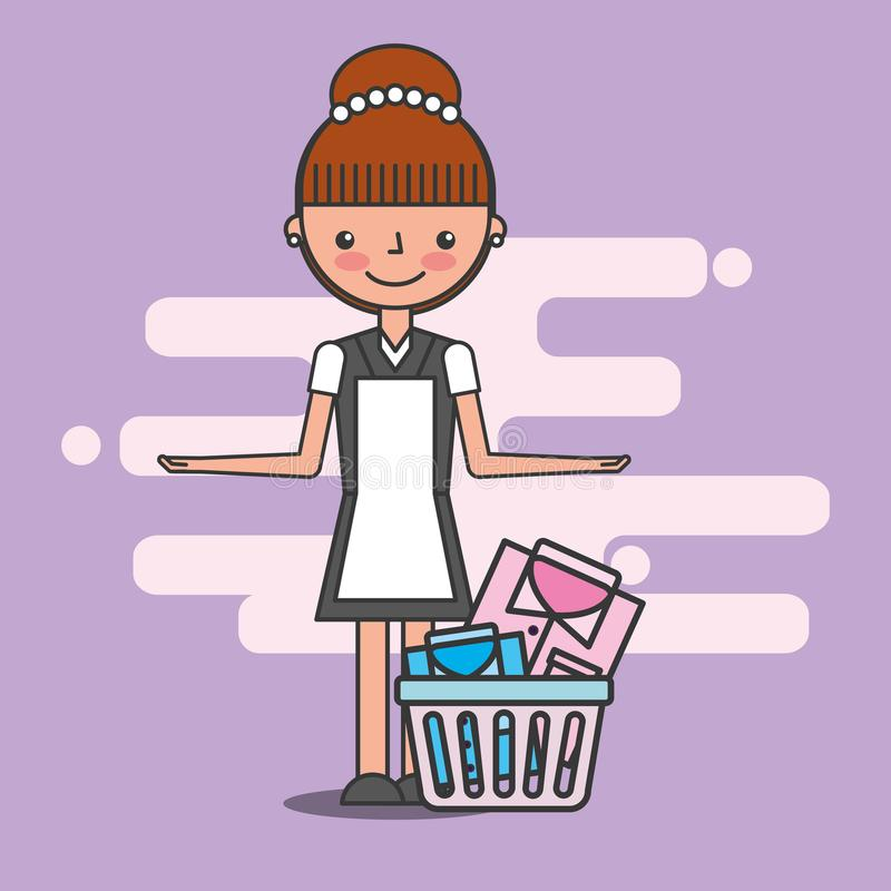 People hotel service. Maid woman with basket laundry hotel service vector illustration royalty free illustration