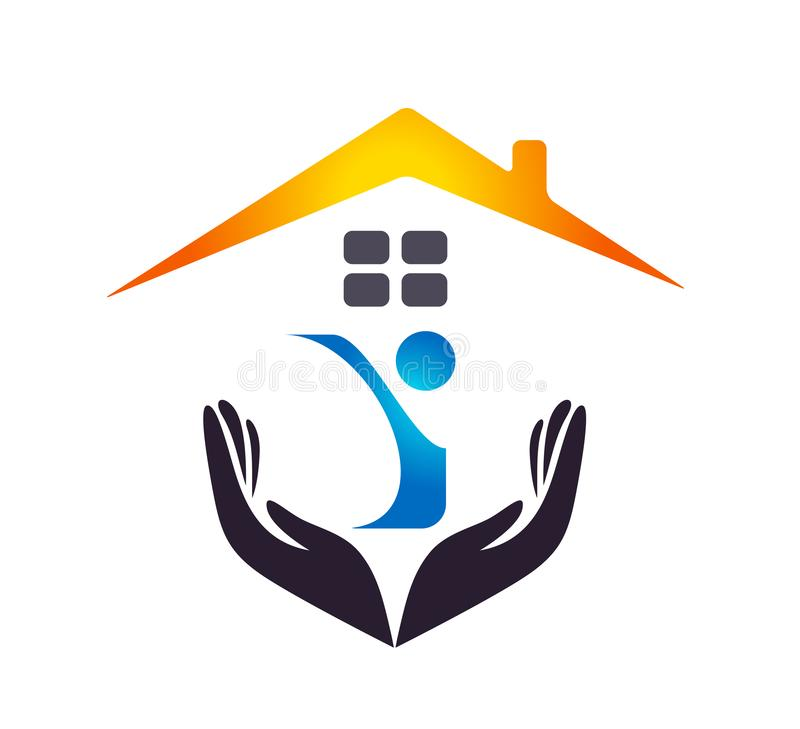 People house home logo Medical hands care clinic people new healthy life care logo design icon on white background. stock illustration