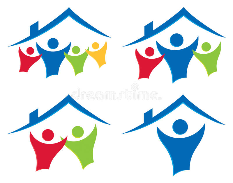 People House Logo Set. A simple house home and people together logo icon set stock illustration