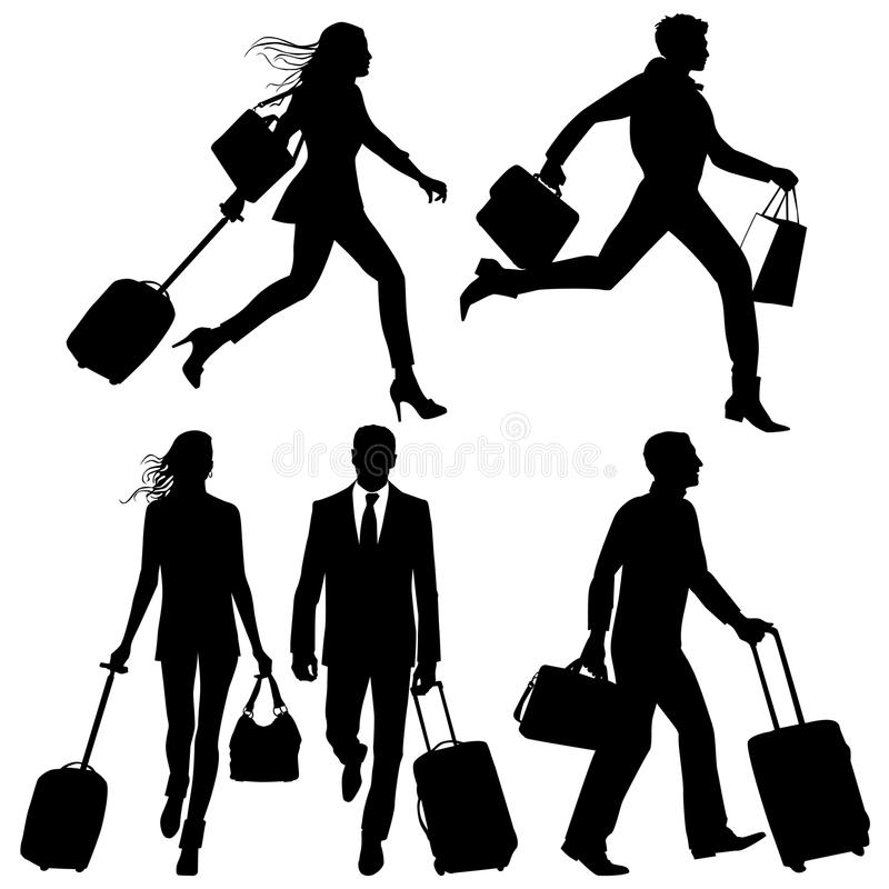 People in a hurry - vector silhouettes. People in a hurry, on airport - vector silhouettes vector illustration