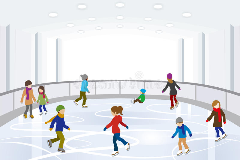 Download People Ice Skating In Indoor Ice Rink Stock Vector - Image: 35590890