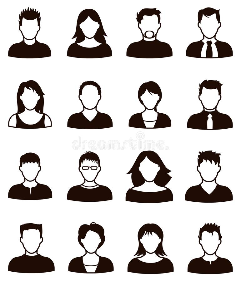 People icon. A black and white people person icon image set of business working and casual men and women vector illustration
