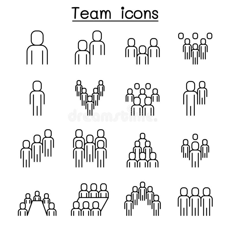 People icon set in thin line style vector illustration graphic design. People icon set vector illustration graphic design vector illustration