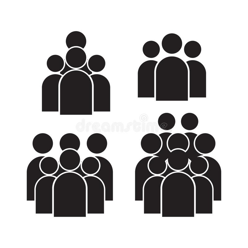 People Icon set in trendy flat style isolated on background. Crowd signs. Persons symbol for your infographics web site design, lo stock illustration
