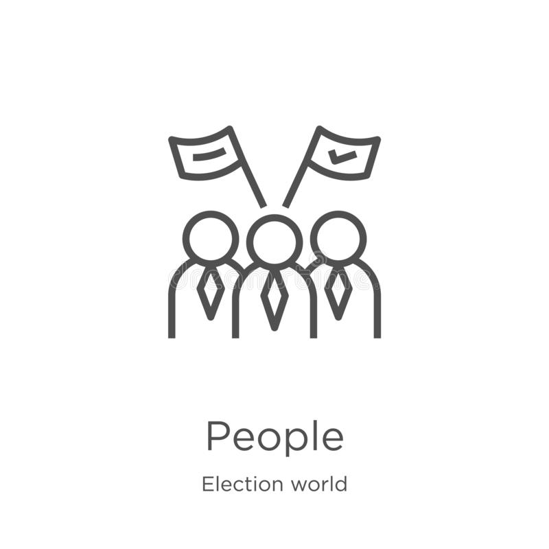 people icon vector from election world collection. Thin line people outline icon vector illustration. Outline, thin line people royalty free illustration