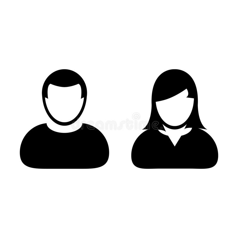 People Icon Vector Male and Female Person Profile Avatar. People Icon Vector Male and Female Sign of User Person Profile Avatar Symbol in Glyph Pictogram royalty free illustration