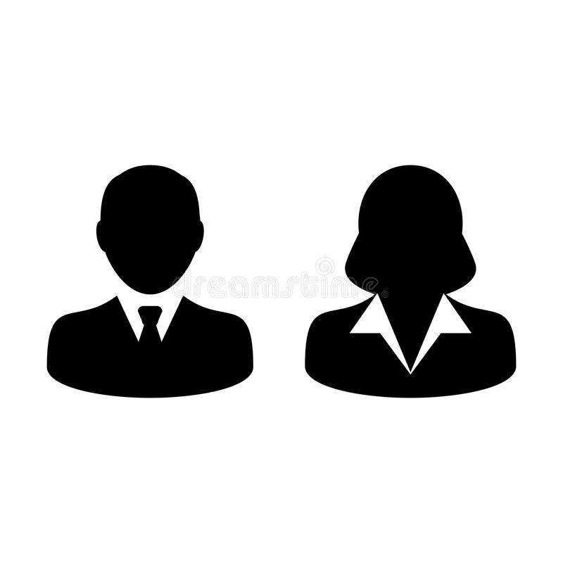 People Icon Vector Male and Female Person Profile Avatar. People Icon Vector Male and Female Sign of User Person Profile Avatar Symbol in Glyph Pictogram vector illustration