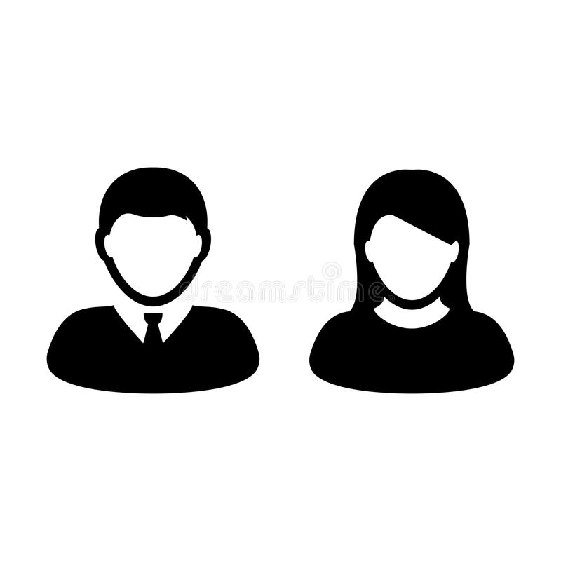 People Icon Vector Male and Female Person Profile Avatar. People Icon Vector Male and Female Sign of User Person Profile Avatar Symbol in Glyph Pictogram stock illustration