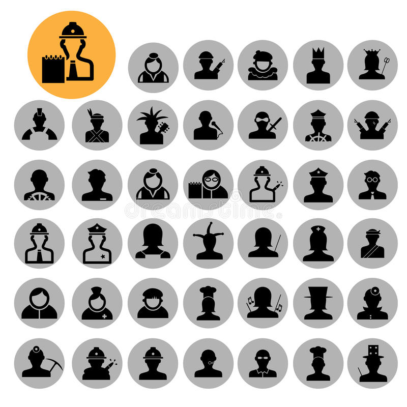 People icons. 40 characters set. Occupations. Professions. Human stock illustration