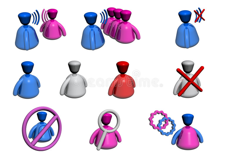 People Icons - Chat / Forum - Perspective View. People icons. Could be used as illustration of: talk, talk to all, mute, user is online, offline, unavailable stock illustration