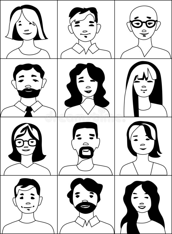 People icons collection, portraits in black and white royalty free illustration