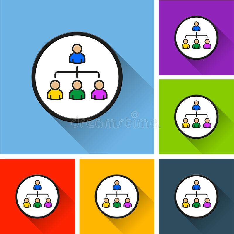 People icons with long shadow stock illustration