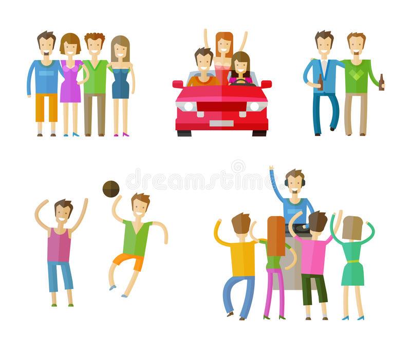 People icons set. friends, nightclub, party or. People set color icons on white background. vector illustration stock illustration