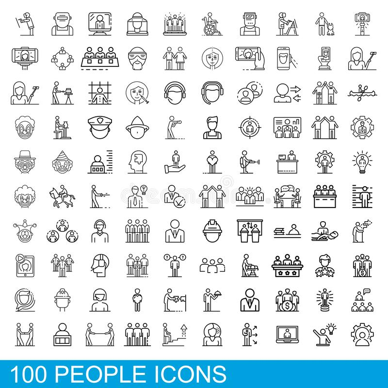 100 people icons set, outline style royalty free illustration