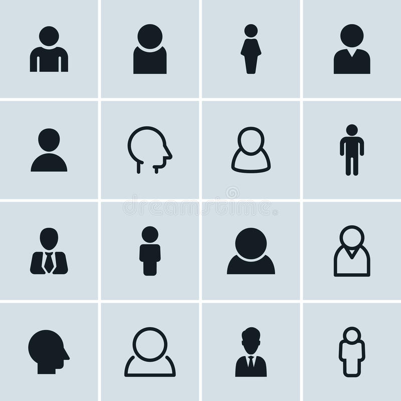 People icons, set of 16 person symbols vector illustration