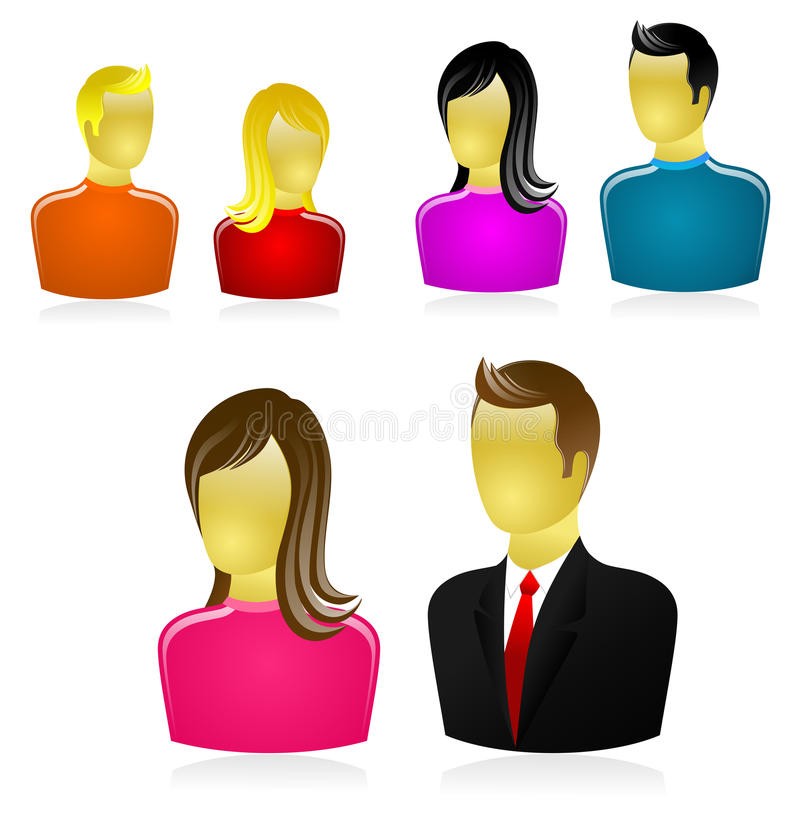 People icons set - vector royalty free stock photography