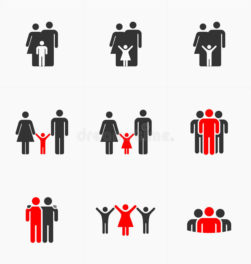 People icons set on white background, silhouette vector. Business and family stock illustration