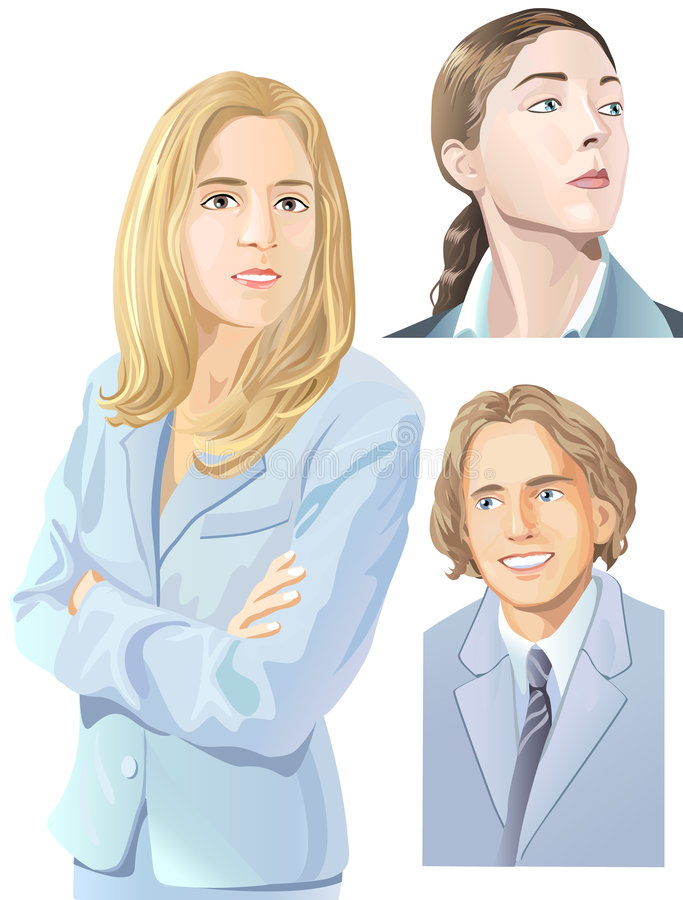 People illustration. Vector illustrations, concept - light colors, kind faces, strict woman, business. They love their professions vector illustration