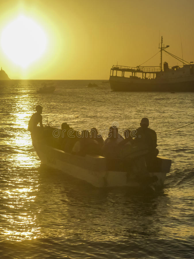 Free People In Boats At The Sunset In Taganga Bay Colombia Stock Photos - 58128673