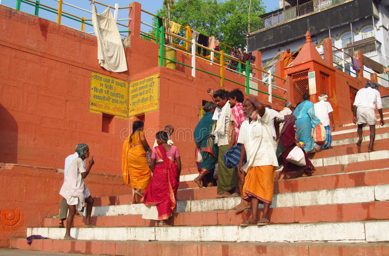People in India on the street of Varanasi royalty free stock image