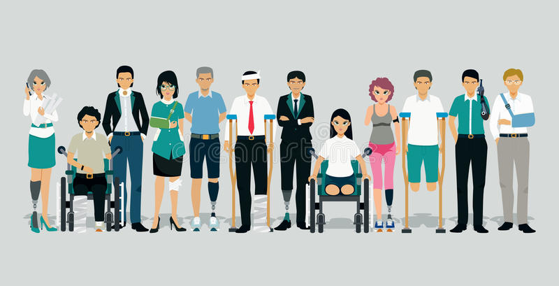 People injured and disabled royalty free illustration