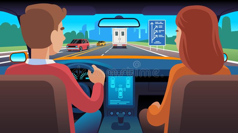People inside car interior. Travel driver navigation seat dating family passengers taxi safety speed road, flat vector stock illustration