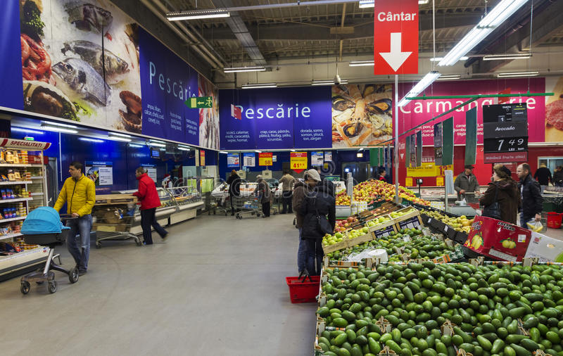 People inside hypermarket stock photo