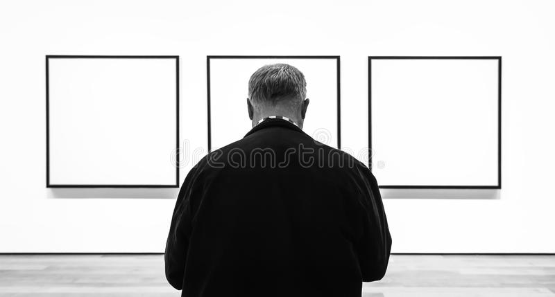 People inside Museum of Modern Art in NYC royalty free stock images