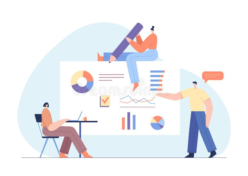 People interacting with charts and analysing statistics. Customer tracking software, data visualisation. Online survey concept. vector illustration