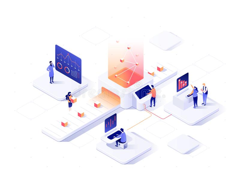 People interacting with charts and analysing statistics. Data visualisation concept. 3d isometric vector illustration. People interacting with charts and stock illustration