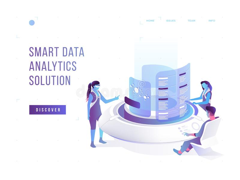 People interacting with charts and analysing statistics. Data visualisation concept. 3d isometric vector illustration. People interacting with charts and royalty free illustration