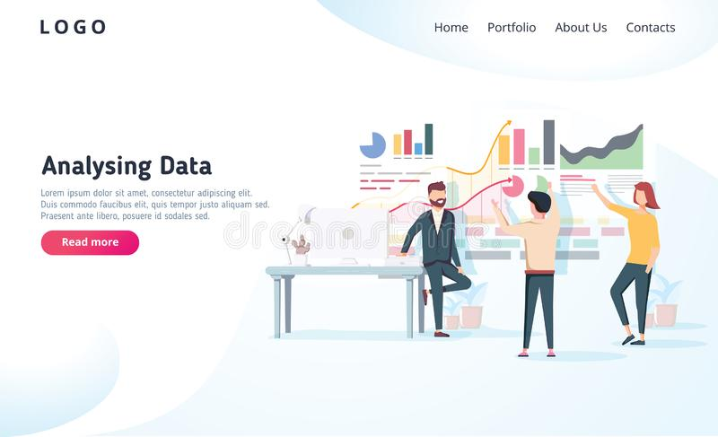 People interacting with charts and analysing statistics. Vector data visualisation concept. Vector illustration. Team analysing tool business concept. Teamwork stock illustration