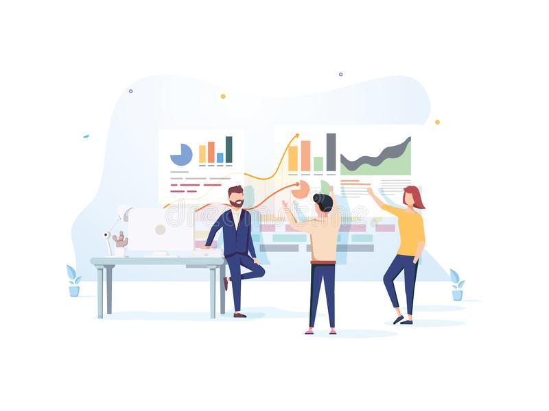 People interacting with charts and analyzing statistics. Data visualization concept. 3d vector illustration. People work stock illustration
