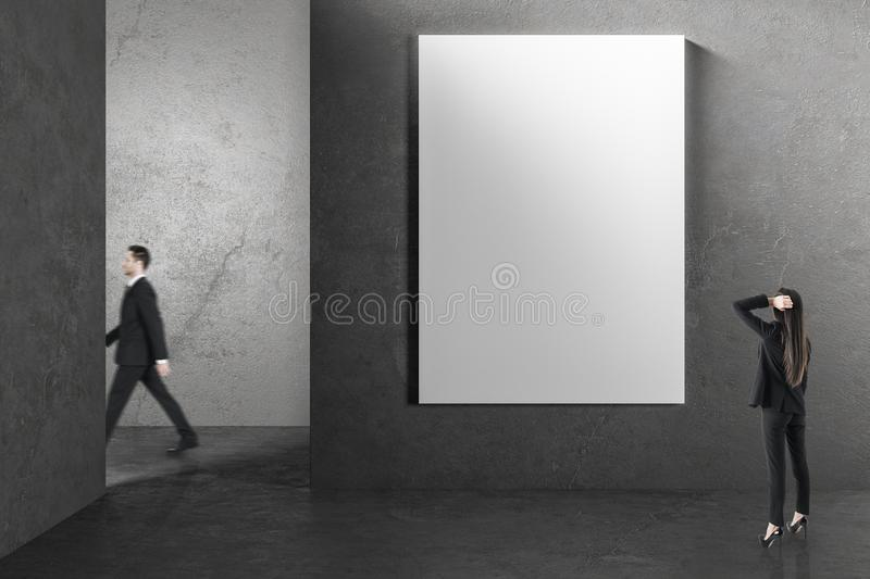 People in interior with empty banner royalty free stock photography