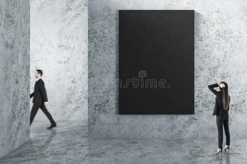 People in interior with empty poster stock images