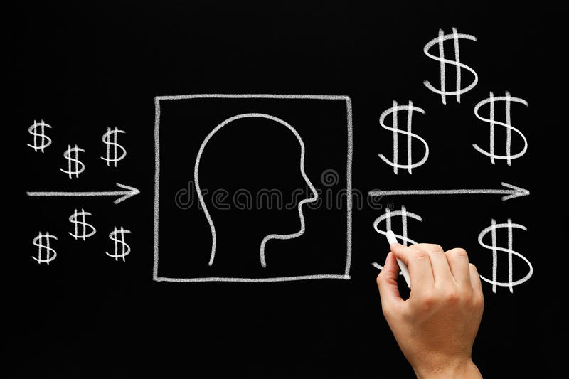People Investment Blackboard Concept royalty free stock photo