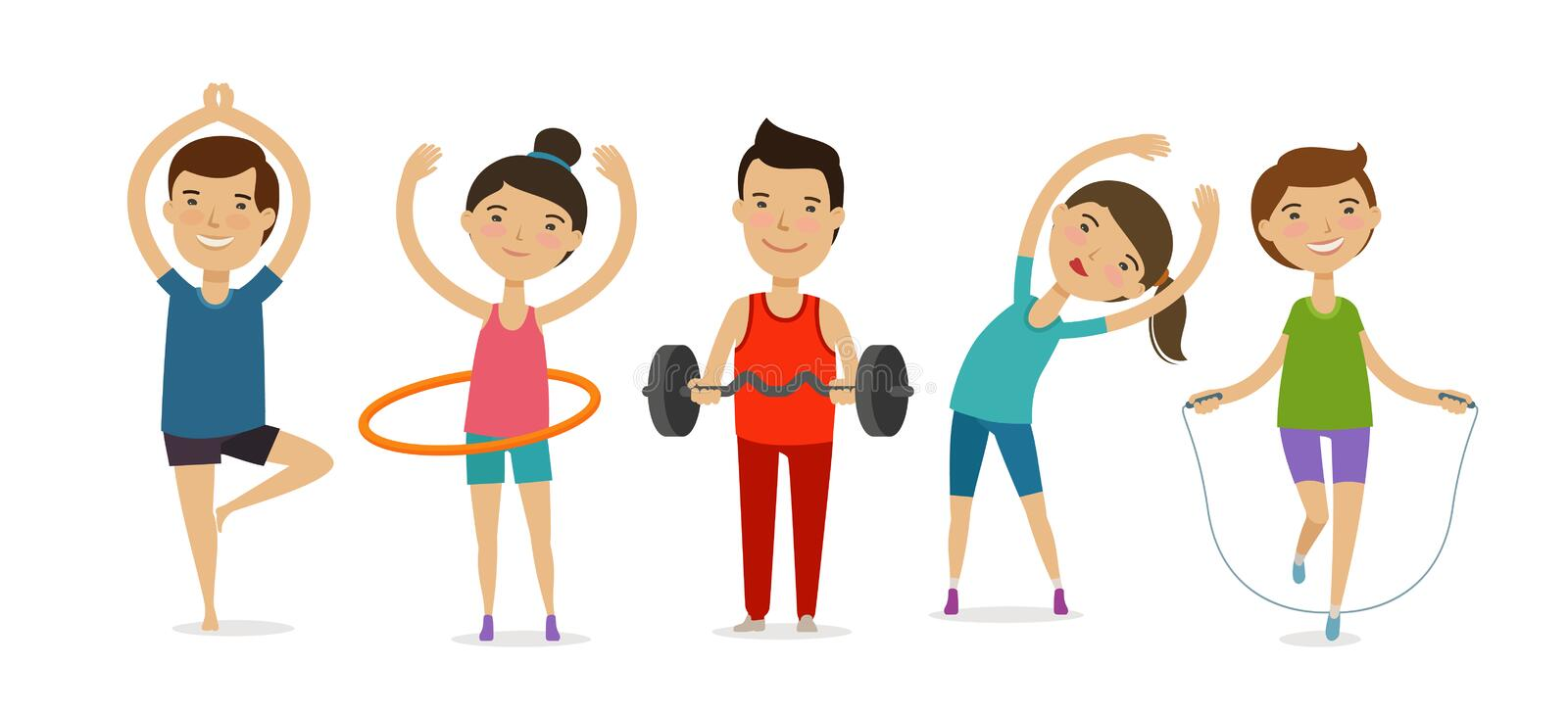 People involved in sports. Fitness, gym, healthy lifestyle concept. Cartoon vector illustration. People involved in sports. Fitness, gym, healthy lifestyle stock illustration