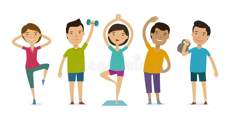 People involved in sports. Fitness, gym, healthy lifestyle concept. Funny cartoon vector illustration. Isolated on white background stock illustration