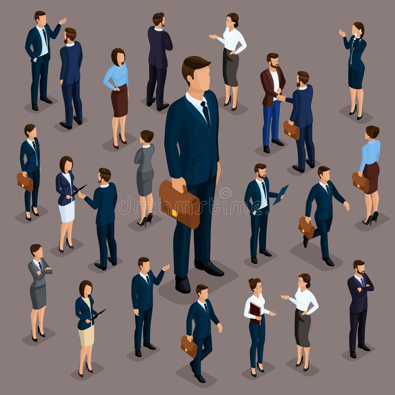 People Isometric 3D, the big boss businessman and business woman, business clothes. The concept of office workers, director and. Subordinates isolated on a dark vector illustration
