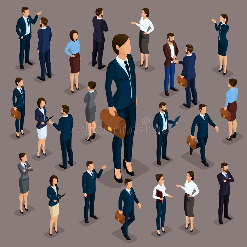 People Isometric 3D, the big boss is a woman leader, a businessman and a business woman, business clothes. The concept of office. Workers, director and stock illustration